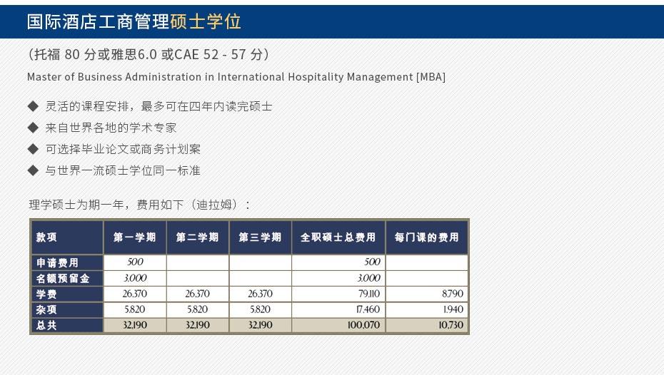 国际酒店工商管理硕士学位 (托福 80 分或雅思6.0 或CAE 52 - 57 分)  Master of Business Administration in International Hospitality Management [MBA]  灵活的课程安排,最多可在四年内读完硕士 来自世界各地的学术专家 可选择毕业论文或商务计划案 与世界一流硕士学位同一标准 理学硕士为期一年。费用如图
