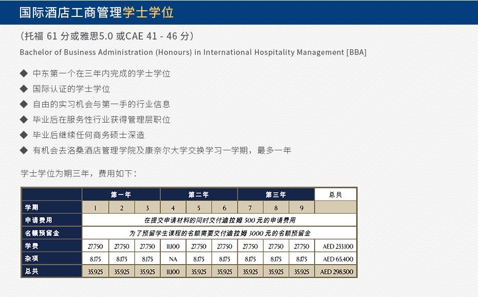 国际酒店工商管理学士学位 (托福 61 分或雅思5.0 或CAE 41 - 46 分) Bachelor of Business Administration (Honours) in International Hospitality Management [BBA] 中东第一个在三年内完成的学士学位 国际认证的学士学位 自由的实习机会与第一手的行业信息 毕业后在服务性行业获得管理层职位 毕业后继续任何商务硕士深造 有机会去洛桑酒店管理学院及康奈尔大学交换学习一学期,最多一年 学士学位为期三年,费用如图。