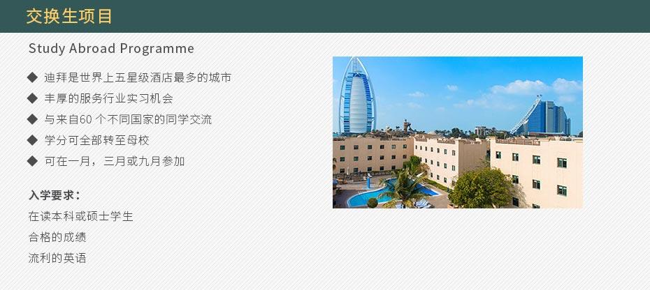 交换生项目 Study Abroad Programme 迪拜是世界上五星级酒店最多的城市 丰厚的服务行业实习机会 与来自60 个不同国家的同学交流 学分可全部转至母校 可在一月,三月或九月参加  入学要求: 在读本科或硕士学生 合格的成绩 流利的英语